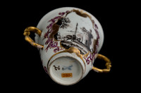 P075D - TWO MEISSEN TWO-HANDLED BEAKERS AND SAUCERS
