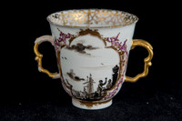 P075B - TWO MEISSEN TWO-HANDLED BEAKERS AND SAUCERS