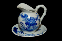 P183B - A JAPANESE BLUE AND WHITE PART TEA SERVICE