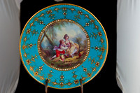 "P127 - SEVRES (LATER DECORATED?) ""JEWELED"" TURQUOISE-GROUND CUP AND SAUCER"