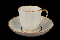 P148 - DERBY GILT WHITE CUP AND SAUCER