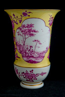 P031A - PAIR OF MEISSEN YELLOW-GROUND VASES