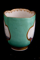 P051 - MEISSEN TURQUOISE-GROUND QUATREFOIL CUP AND SAUCER