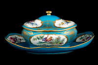 P060 - SEVRES (LATER-DECORATED) BLEU CELESTE GROUND SUGAR-BOWL, COVER AND FIXED STAND