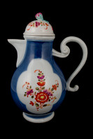 P151 - MEISSEN BLUE GROUND COFFEE-POT AND A COVER