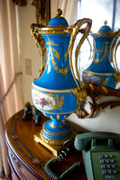 P030B - PAIR OF ORMOLU-MOUNTED SEVRES STYLE TURQUOISE-GROUND VASES AND COVERS