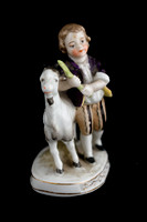 P113 - CAPODIMONTE STYLE FIGURE GROUP OF A BOY AND GOAT