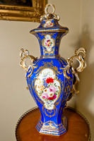 "P120 - MINTON BONE CHINA BLUE-GROUND ""CHELSEA OCTAGON"" VASE AND COVER"