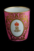 P028 - ROYAL DOULTON COMMEMORATIVE PINK-GROUND SPILL VASE