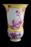 P031B - PAIR OF MEISSEN YELLOW-GROUND VASES