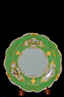 P189B - A PAIR OF COALPORT GREEN-GROUND DESSERT PLATES