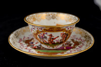P157 - MEISSEN TEA BOWL AND SAUCER