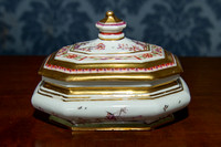 P063 - MEISSEN OBLONG OCTAGONAL SUGAR-BOX AND COVER.