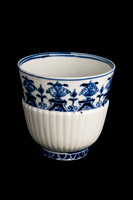 P092B - EARLY ROUEN BLUE AND WHITE BEAKER AND SAUCER